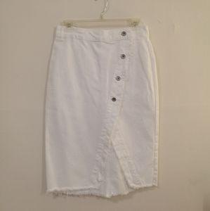 Zara white denim skirt